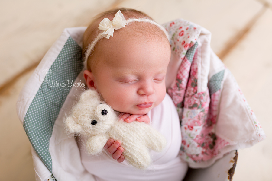 newborn holding small teddy wearing a bow tie back
