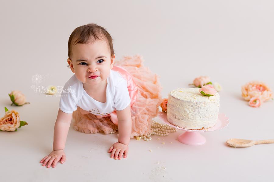 crawling one year old baby cake smash photography session