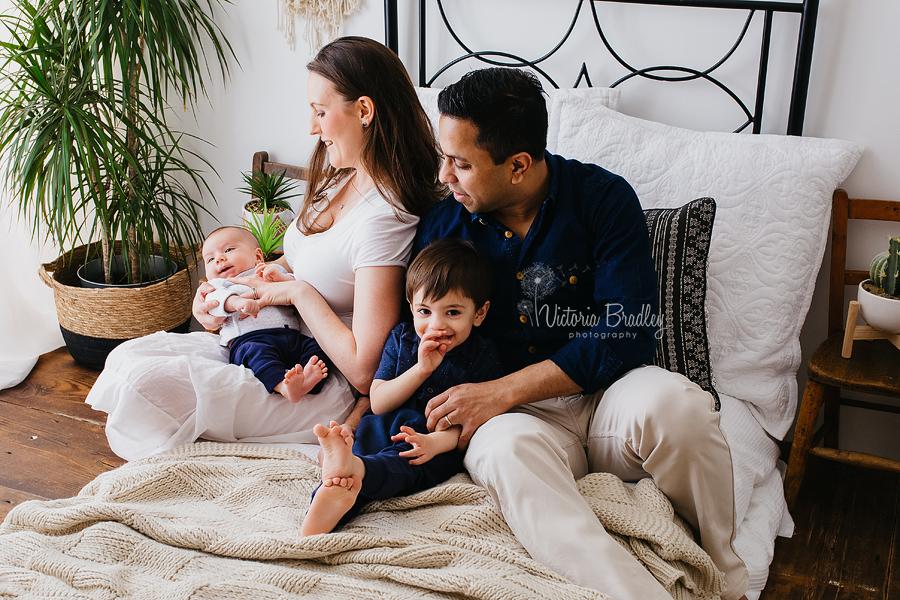 boho style newborn family photography session