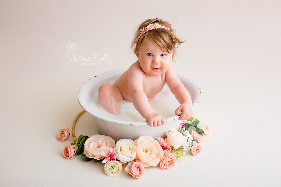 baby girl milk bath photography session