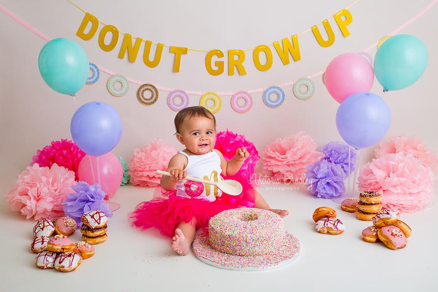 pink cake smash baby girl