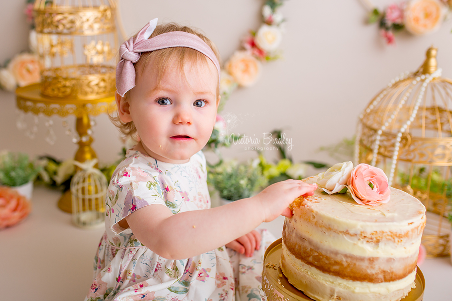 floral baby girl cake smash, gold bird cages