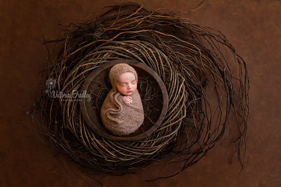 wrapped newborn boy in twig basket