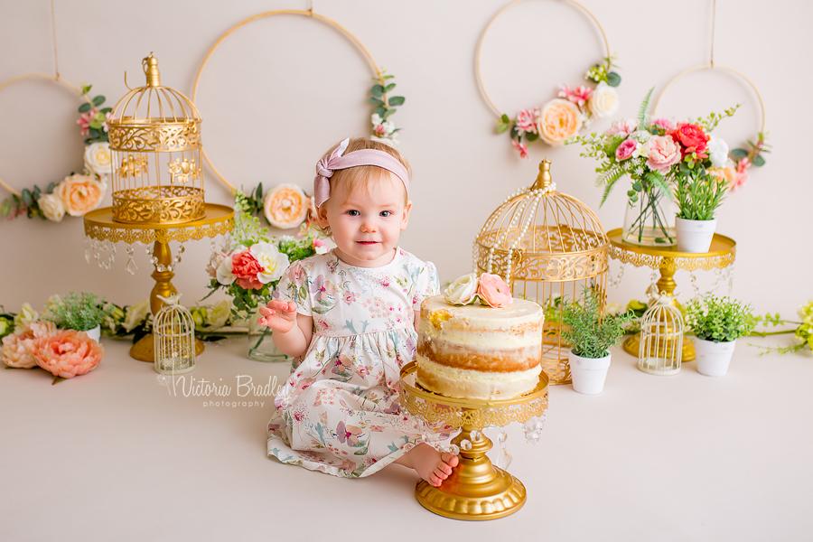 floral baby girl cake smash