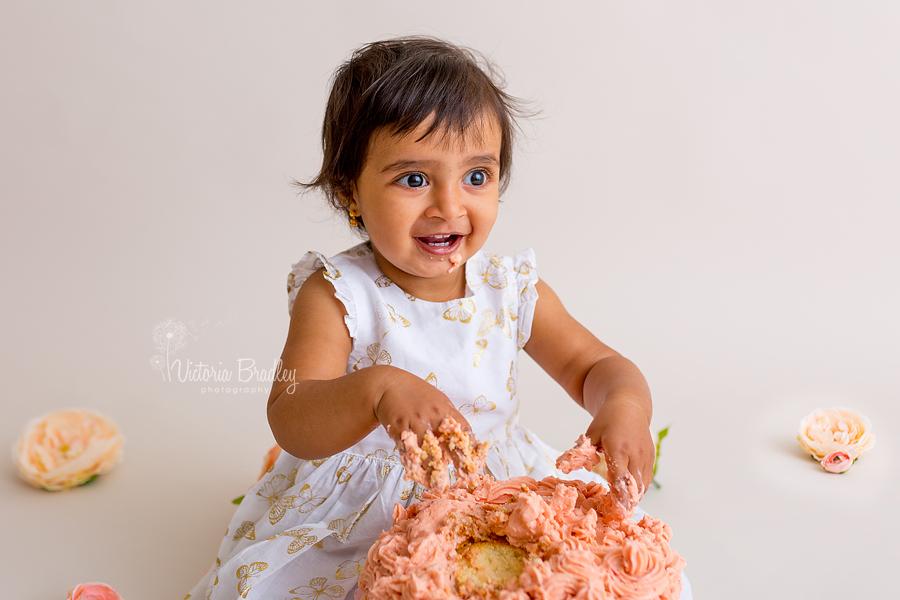 peach cake cake smash photography baby girl