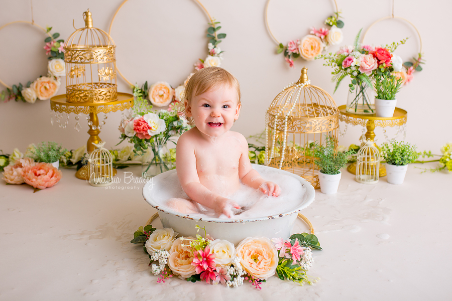 baby girl cake smash with flowers, vintage bath
