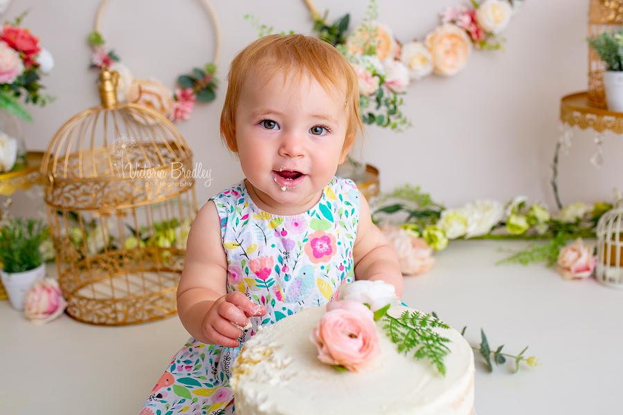 baby girl cake smash floral set