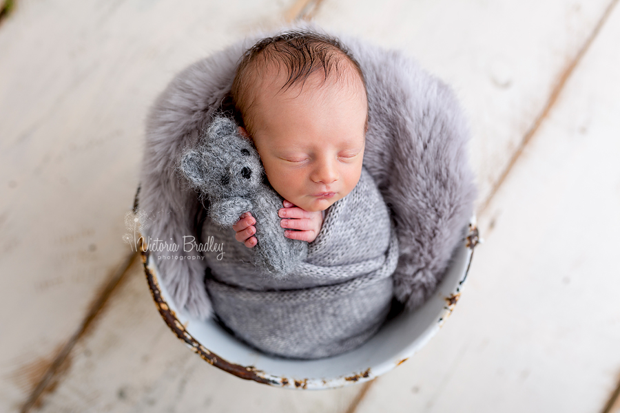 wrapped newborn baby boy photographer, grey wrapped and mini teddy in a white bucket