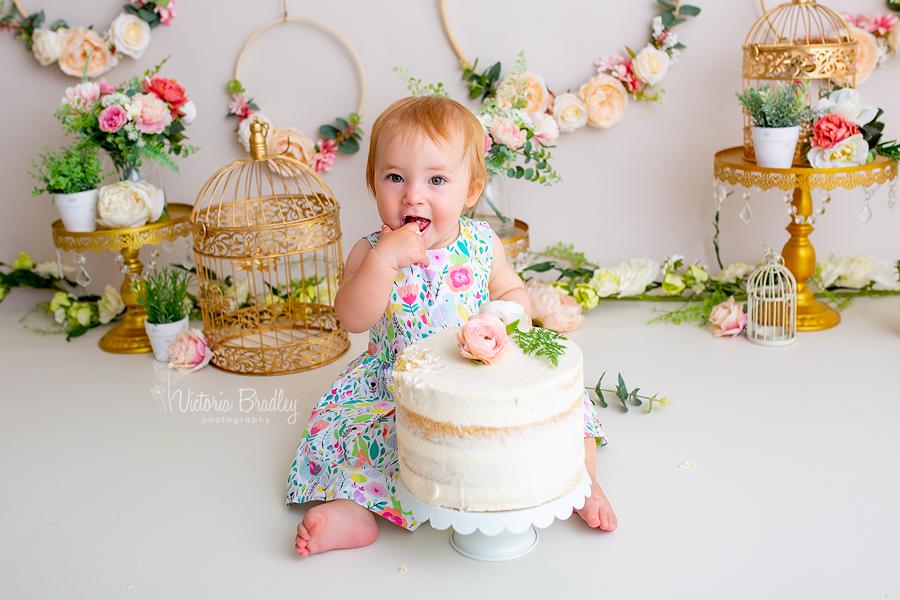 baby girl cake smash floral set, giant cake