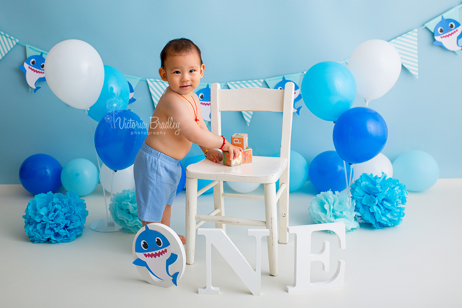 baby shark cake smash boy