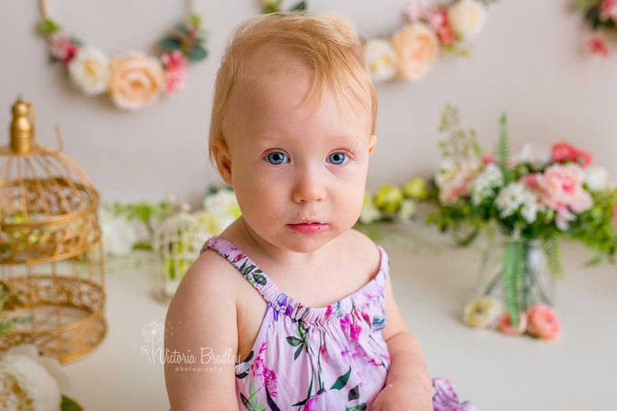 floral baby cake smash, floral dress