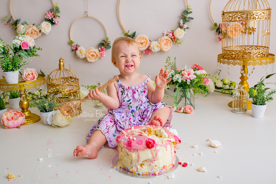 floral baby cake smash pink cake
