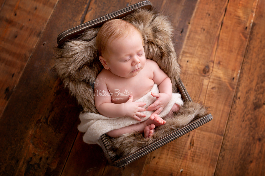 sleepy newborn boy in little wooden bed with fur