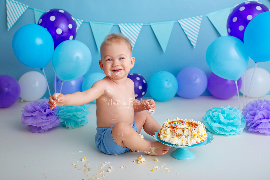 blue and purple baby boy cake smash photography