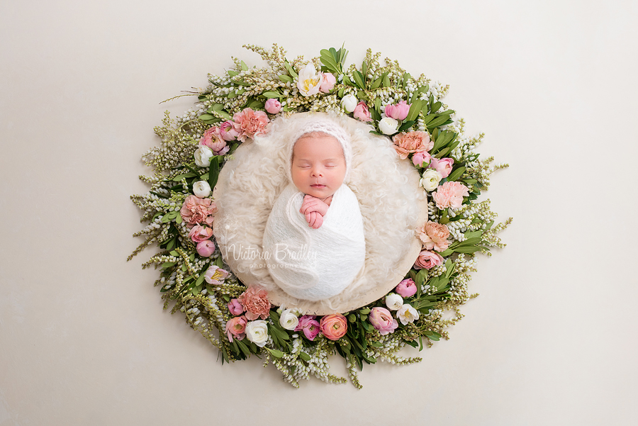 newborn baby photography baby is flower basket
