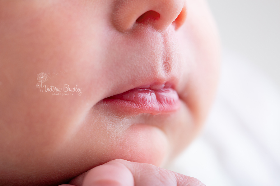 newborn baby photography macro of pout