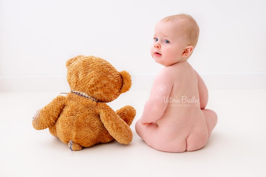 baby boy with teddy