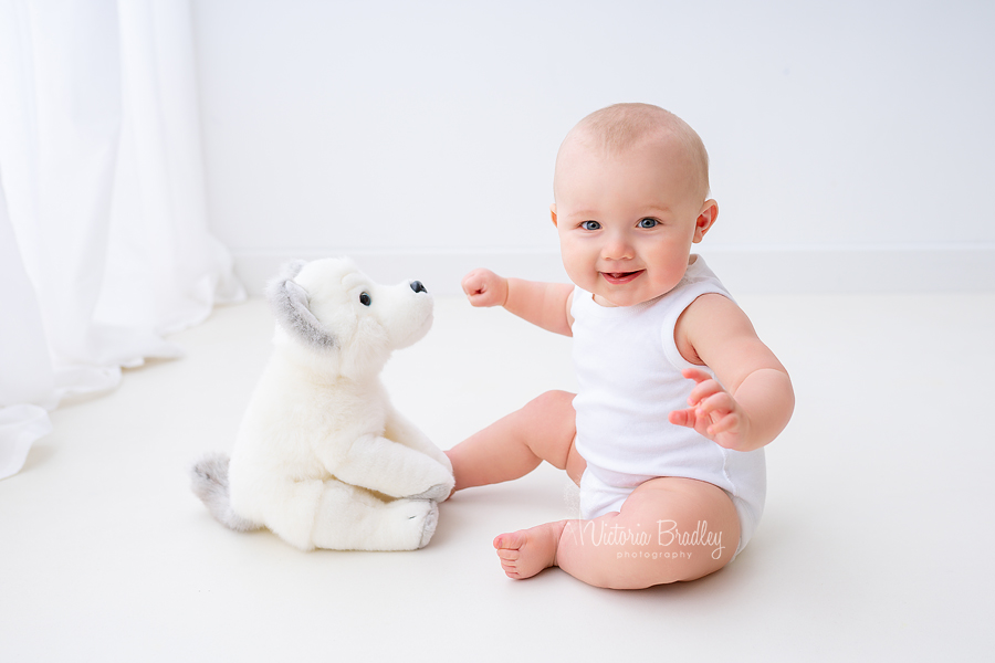 white studio natural baby photography