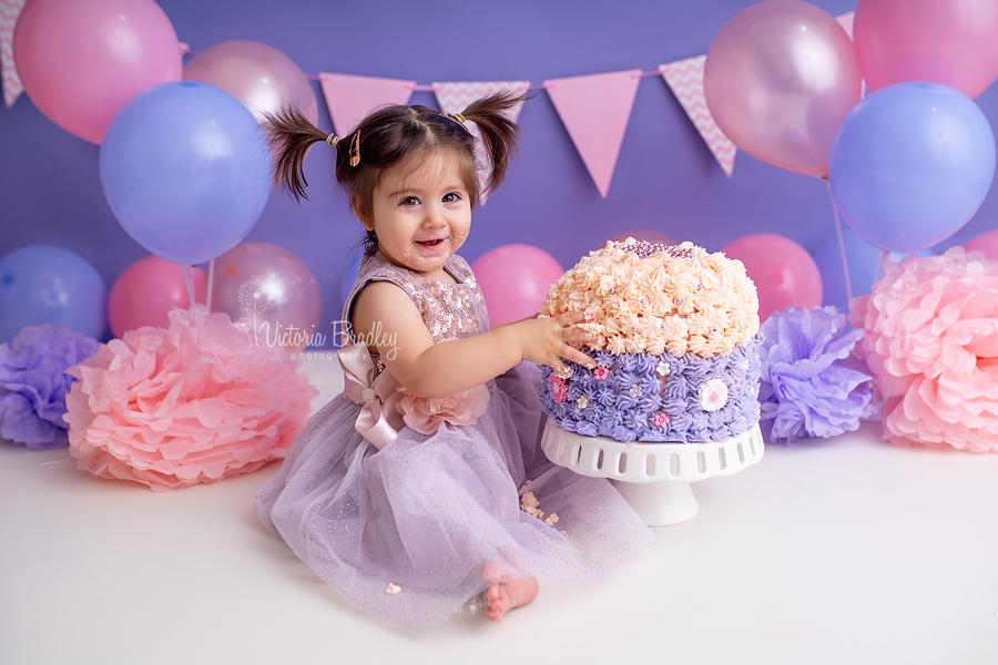 pink and purple cake smash