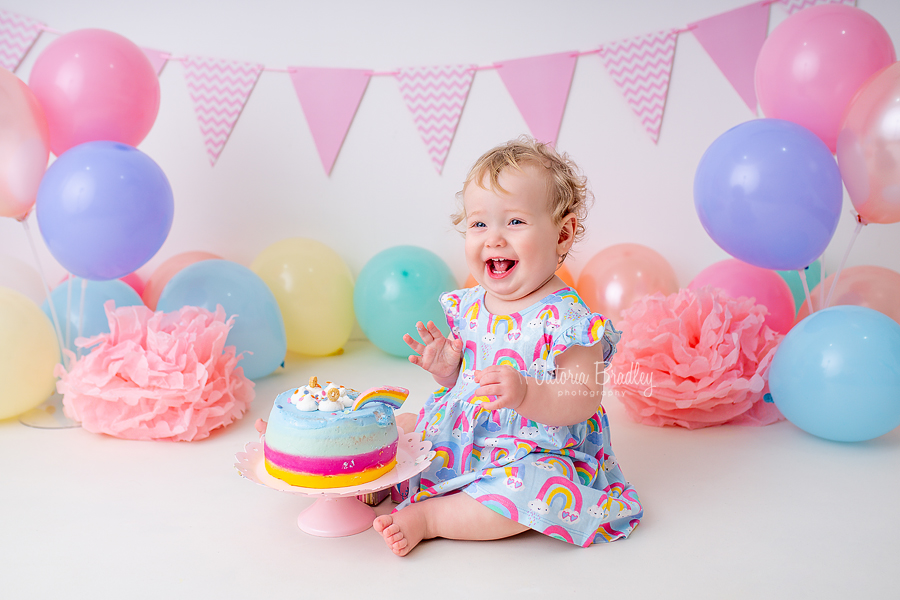 macaroon pastel cake smash baby girl rainbow cake