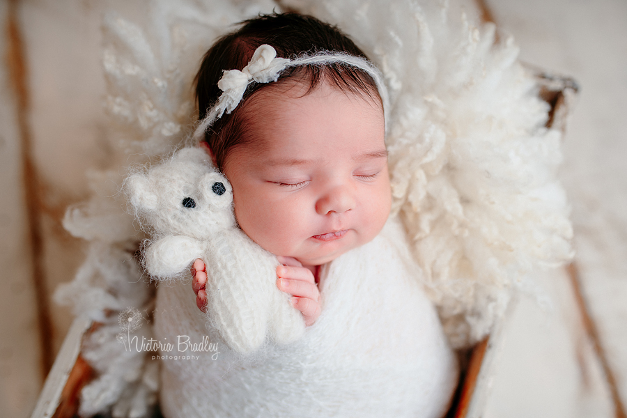 baby girl with white teddy neborn photography