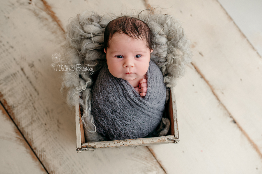 wrapped newborn in grey wrap in a crate on cream wooden floor