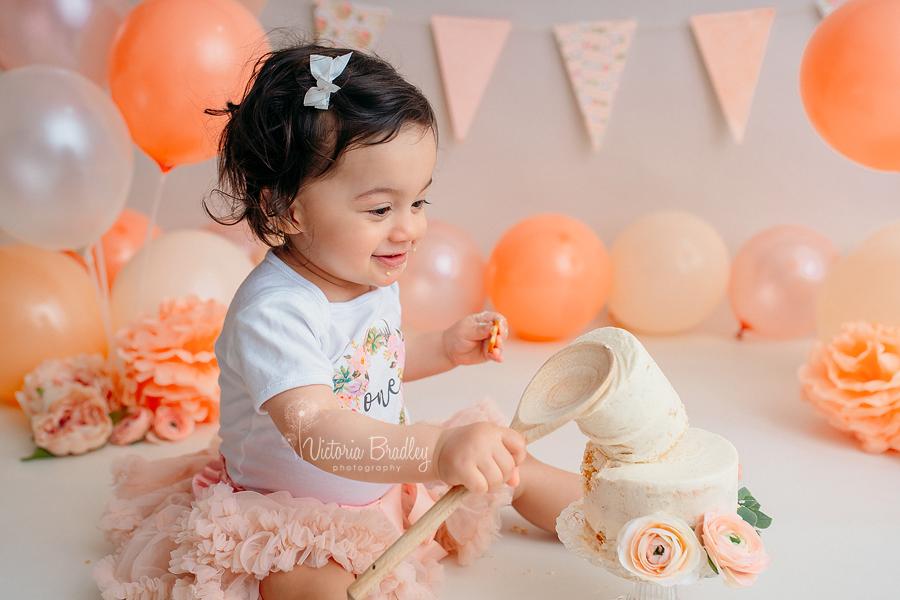 cake smashing peach set