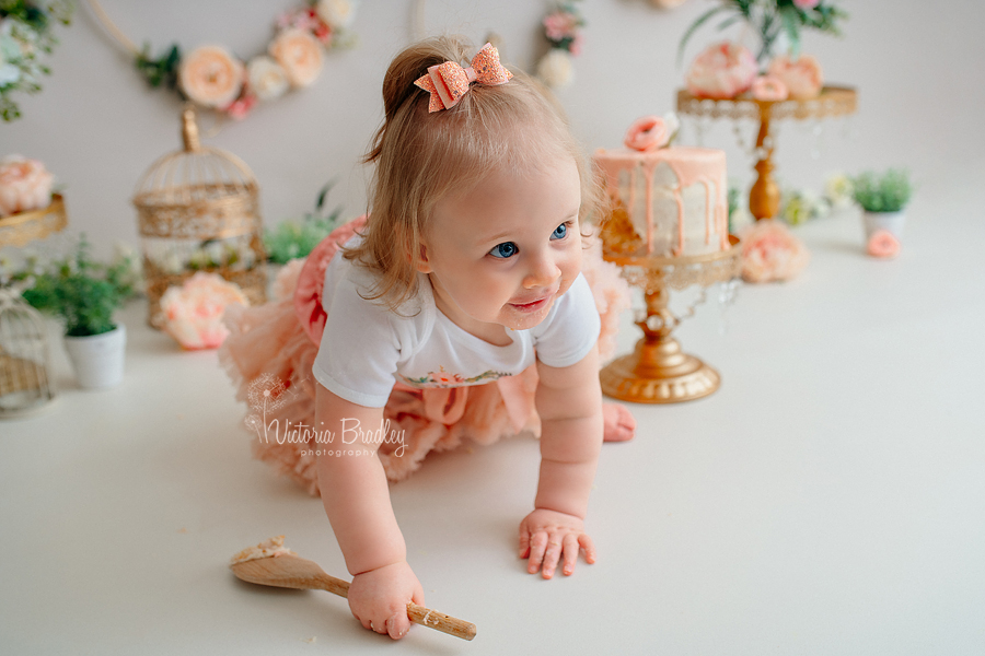 baby girl cake smash peach floral hoops