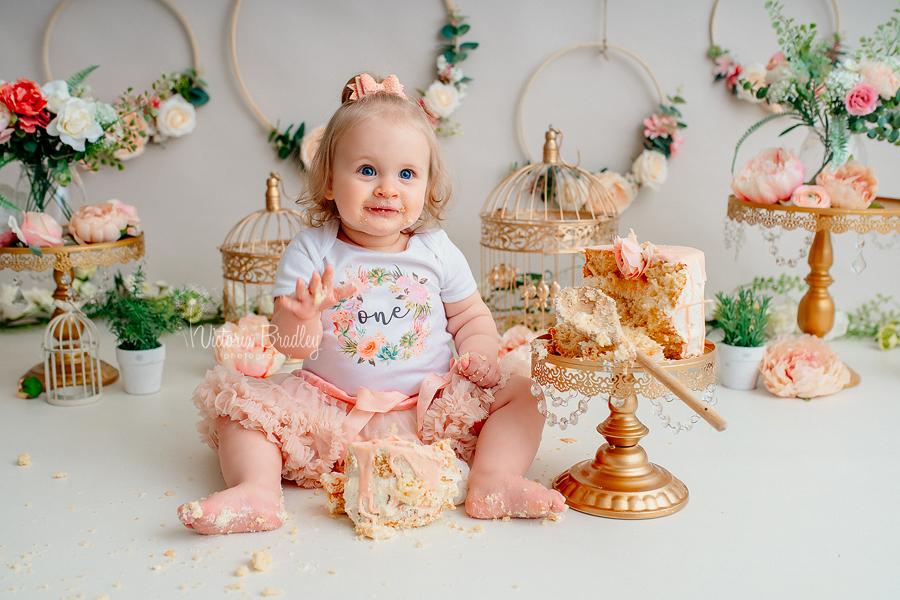 baby girl cake smash flowers