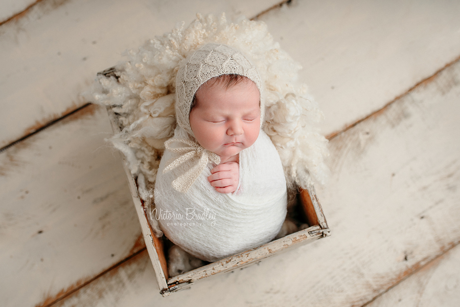 wrapped newborn in neutral tones
