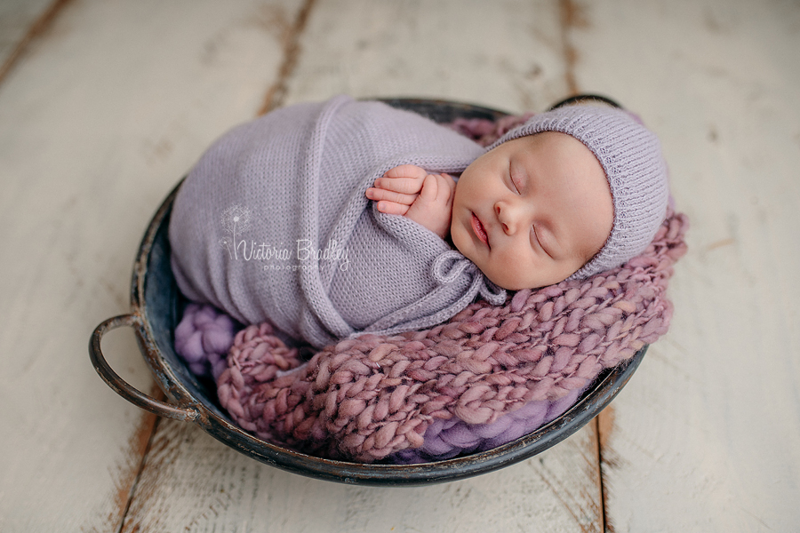 wrapped newborn photography in lilac