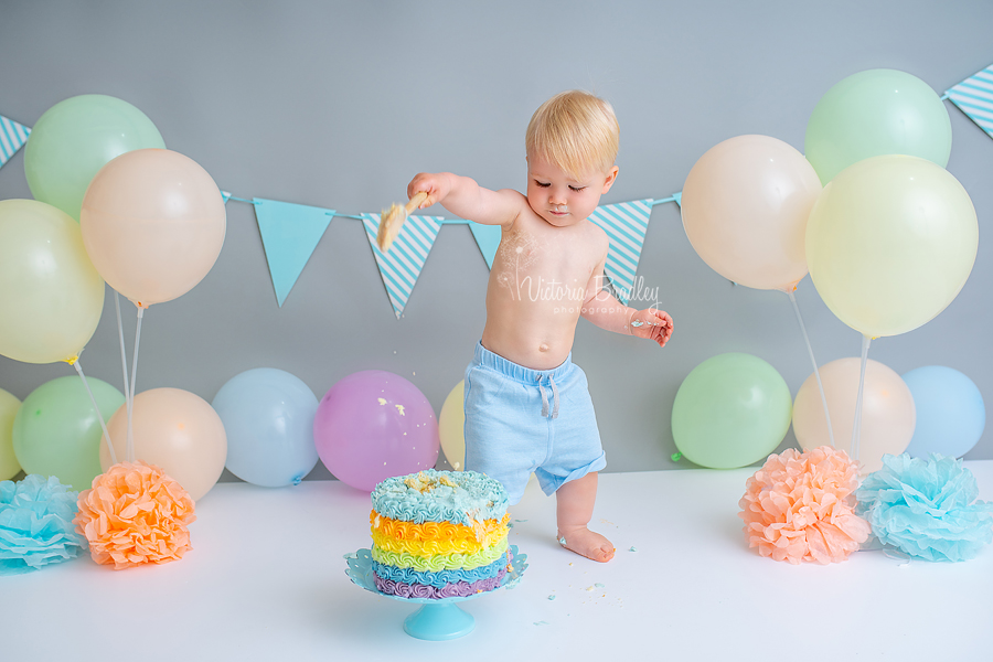 boy rainbow cake smash