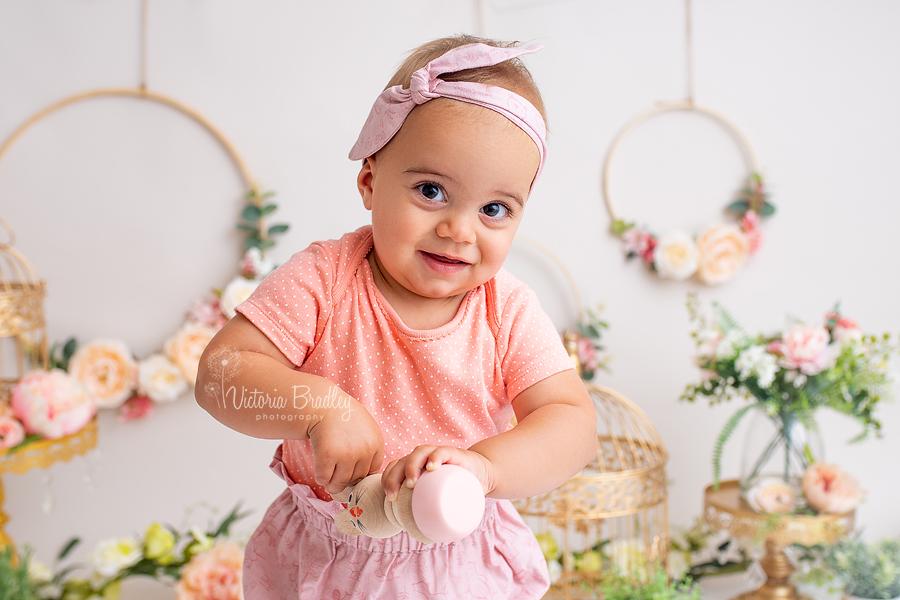 baby girl floral cake smash