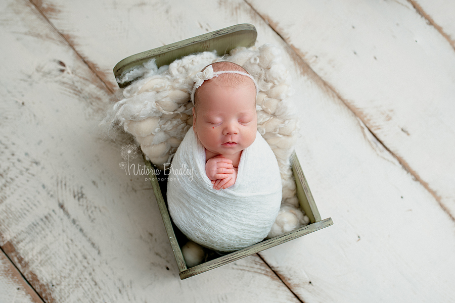 wrapped newborn baby in mini bed