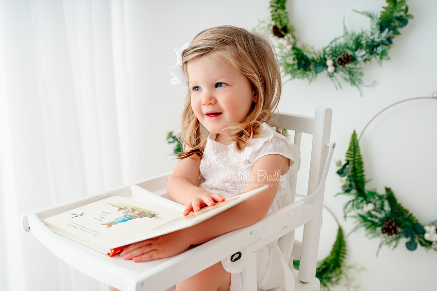 foliage hoops back drop toddler photography in white high chair