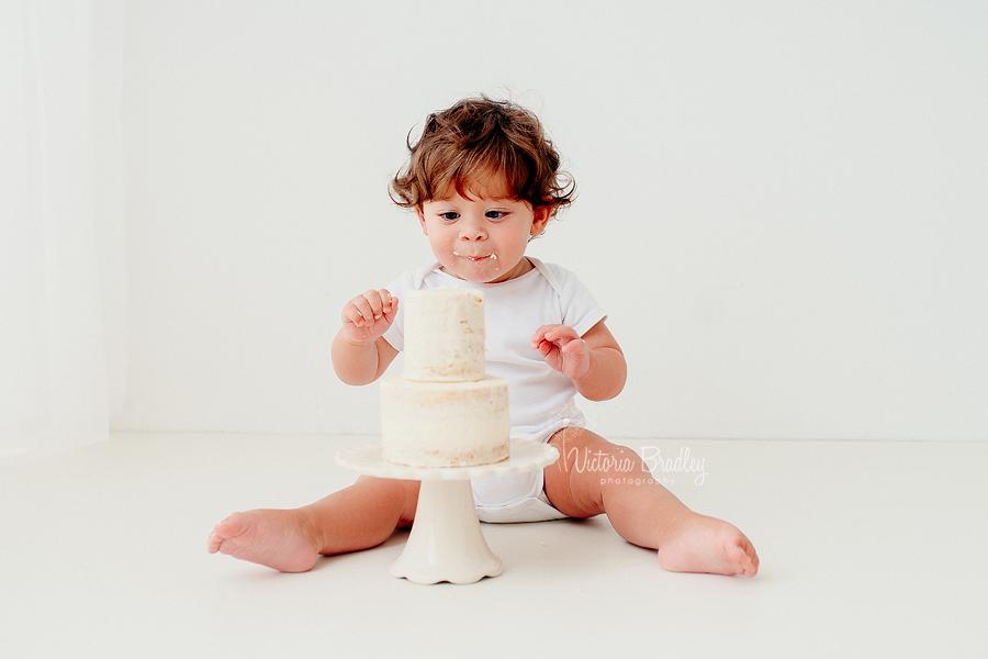 pure white cake smash baby boy