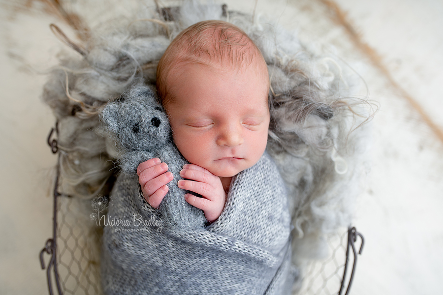 baby with small grey teddy
