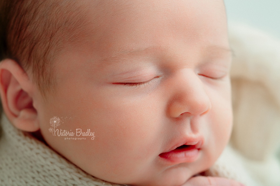 macro of newborn face