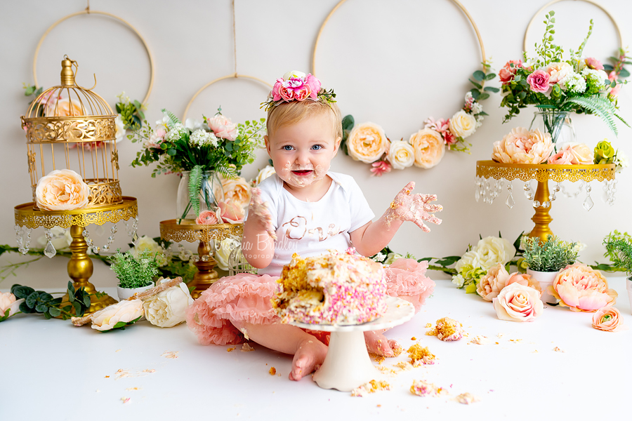 happy baby cake smash floral hoops