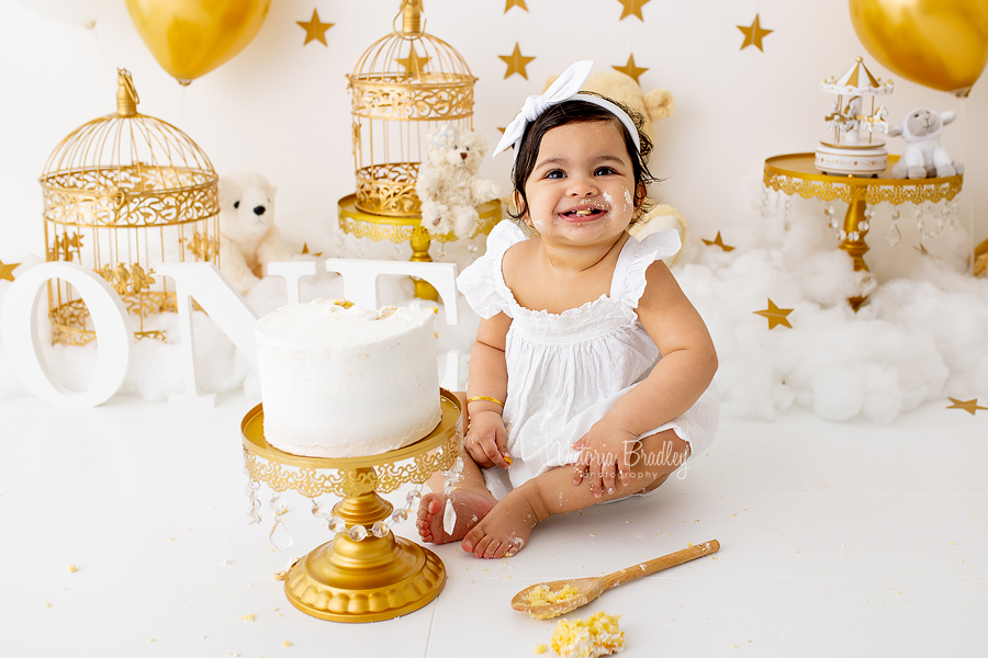 baby girl cake smash gold and white