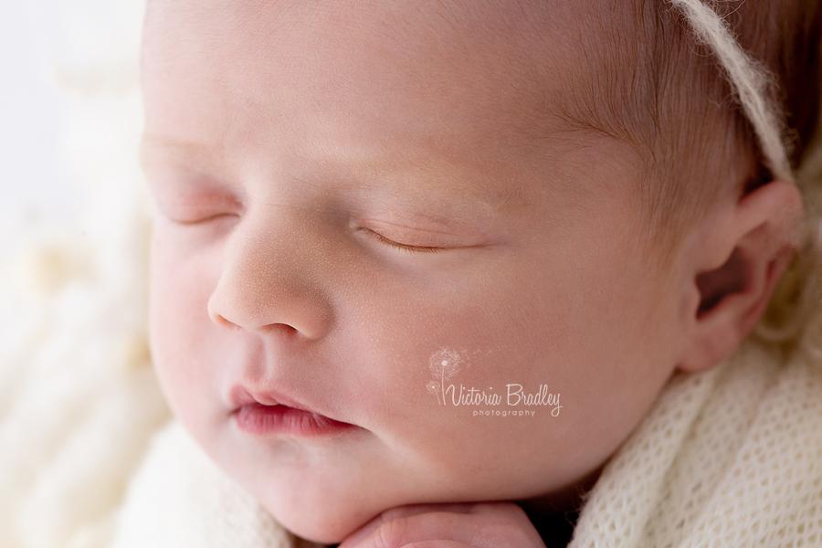 macro of newborn face