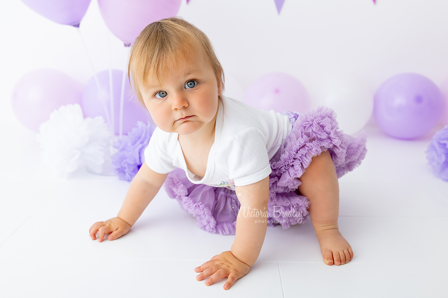 lilac cake smash baby girl