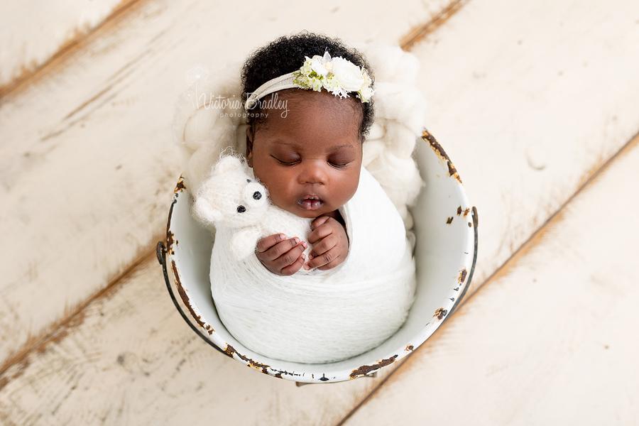 newborn in bucket with teddy