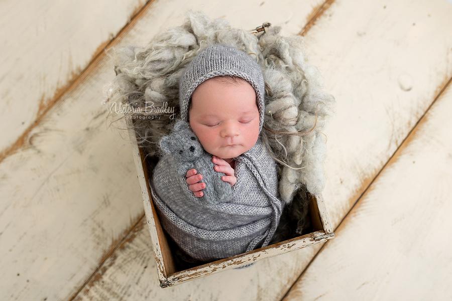 wrapped newborn with grey teddy