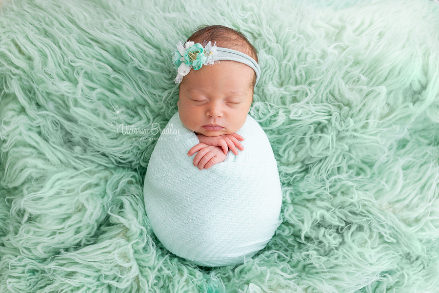 wrapped newborn baby image on mint