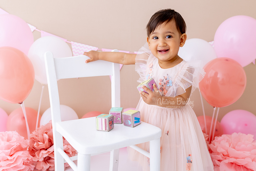 pink and cream cake smash baby girl